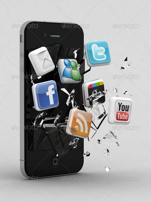 Smartphone with Shattered Glass and 3d Social Media Icons