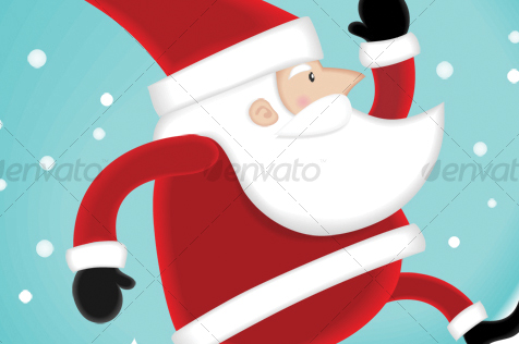 Santa walking on the snow